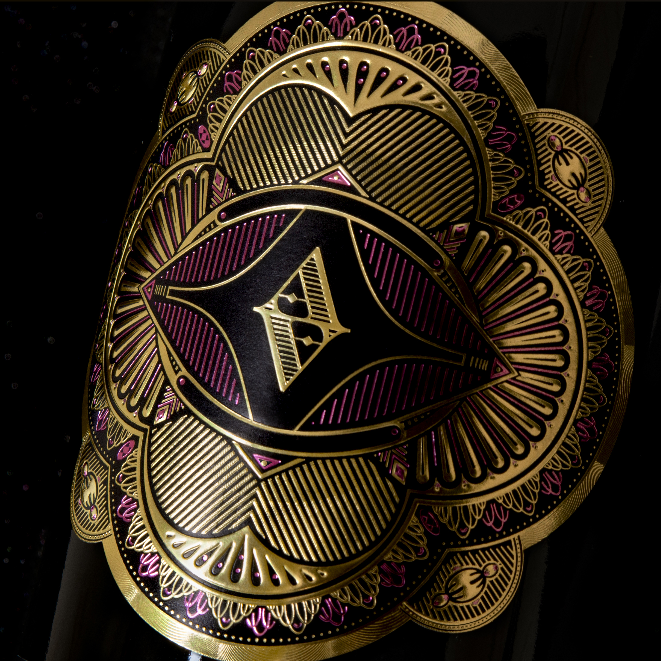Detalle fotográfico del diseño de la etiqueta de vino crianza Altos de Aiara, La guardia 3