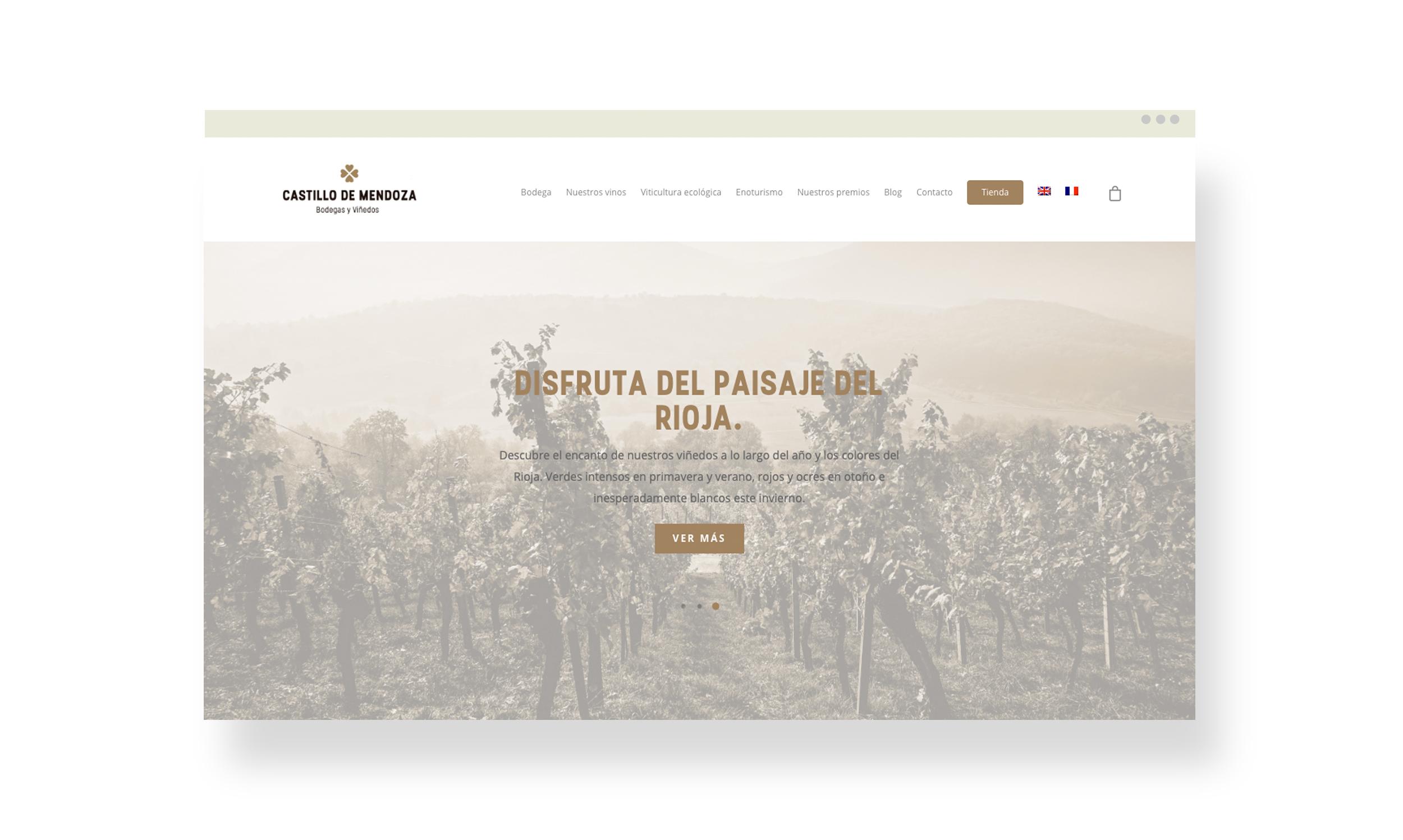 Diseño web con tienda online para bodega en La Rioja. Versión ordenador.