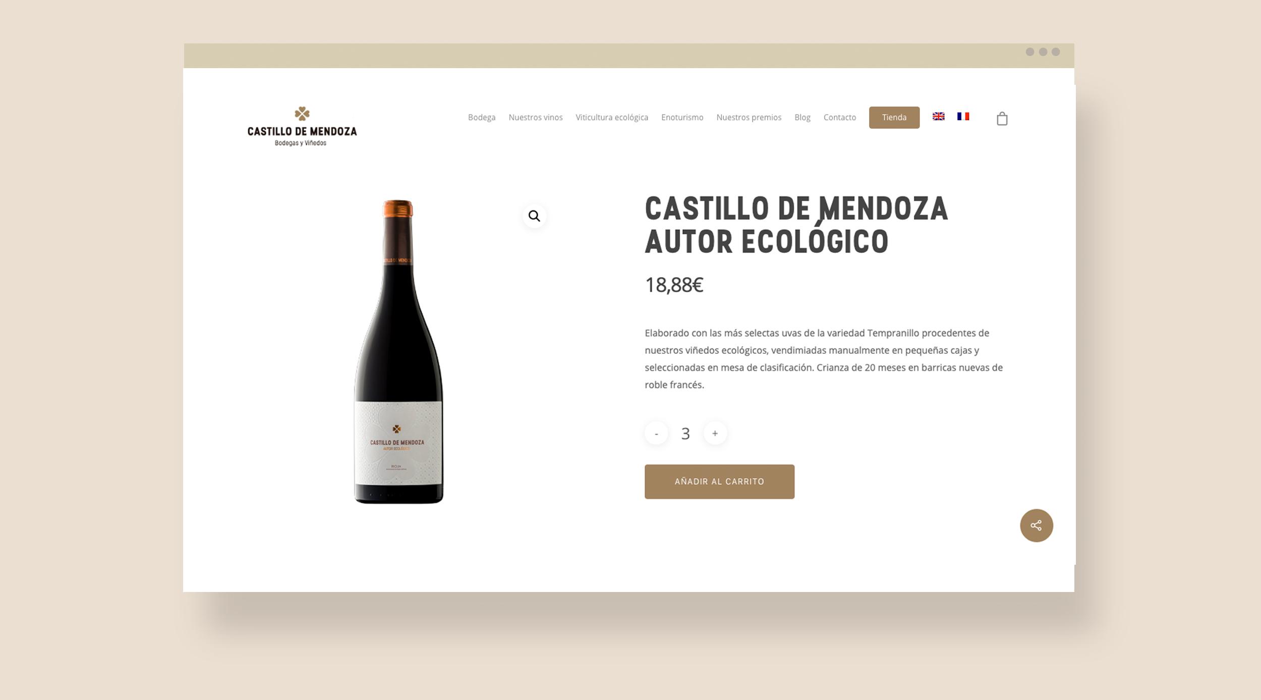 Diseño web versión ordenador con tienda online para bodega Riojana en San Vicente de la Sonsierra, bodega Castillo de Mendoza.