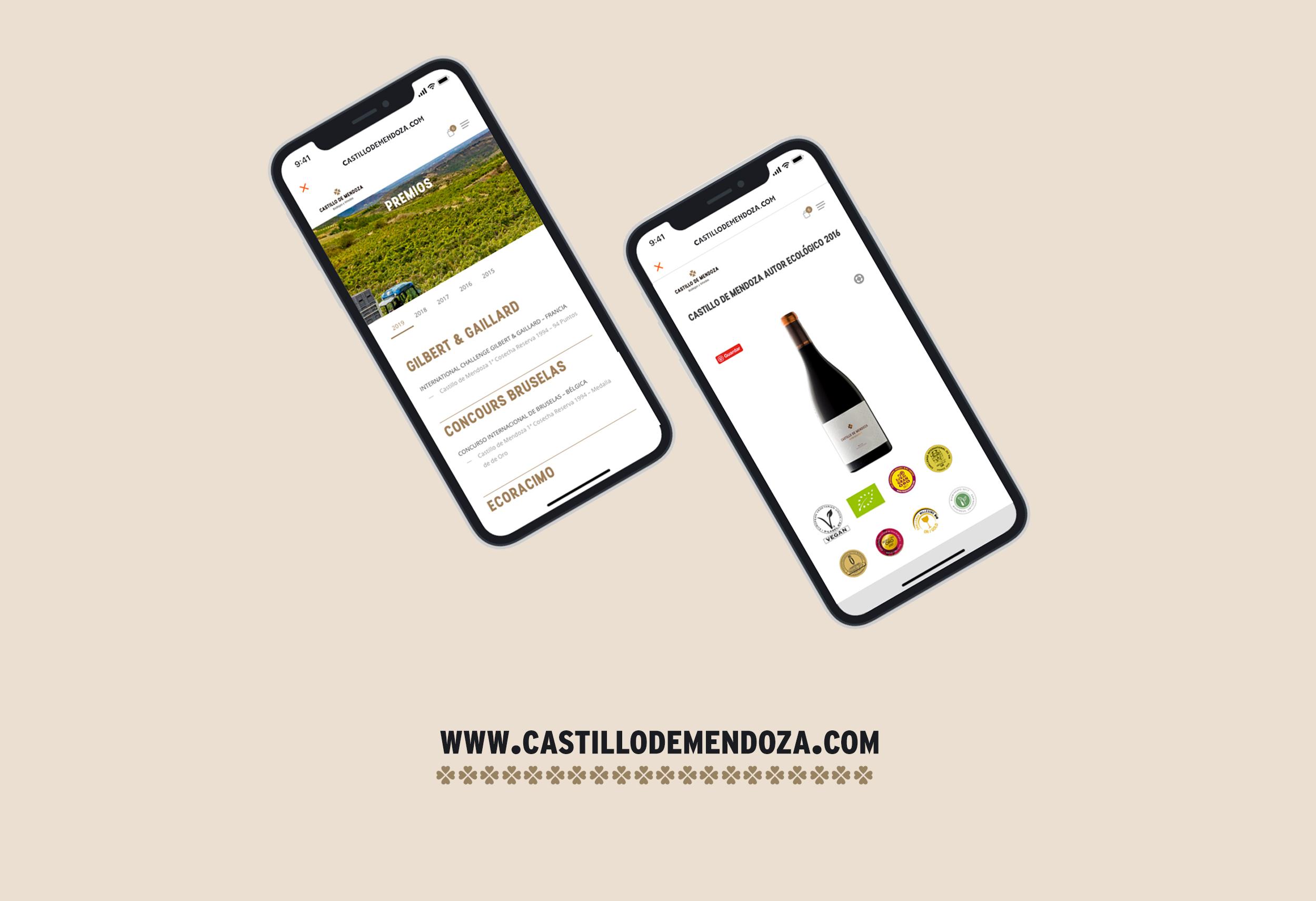 Diseño web versión móvil con tienda online para bodega Riojana en San Vicente de la Sonsierra, bodega Castillo de Mendoza.