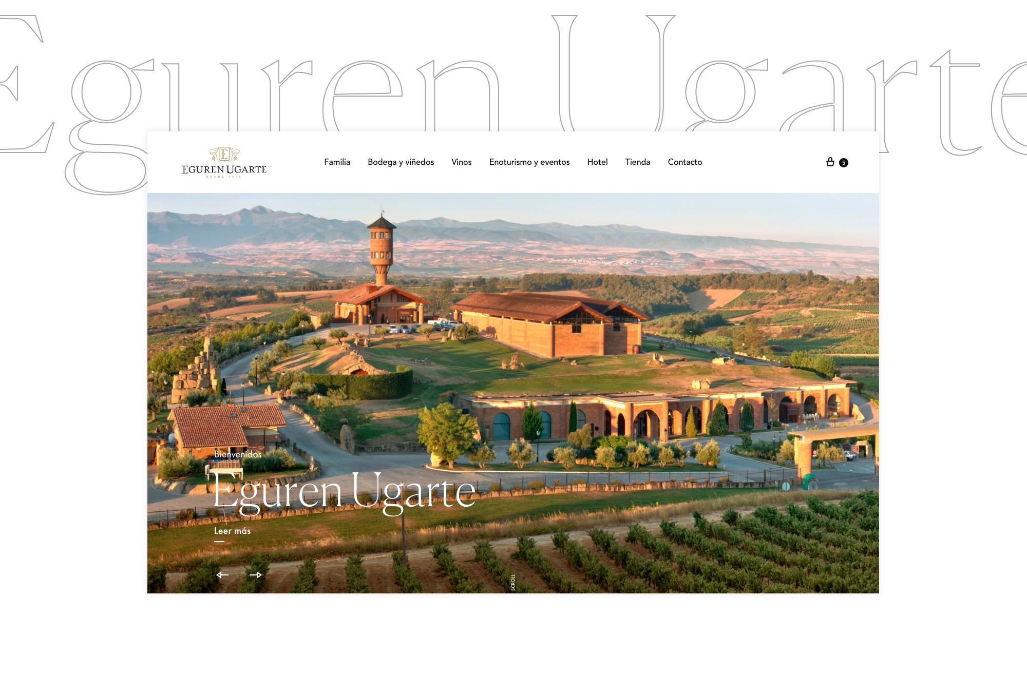 Diseño web versión ordenador y móvil con tienda online y reservas de hotel para bodega Alavesa en La Guardia. Bodegas Eguren Ugarte.
