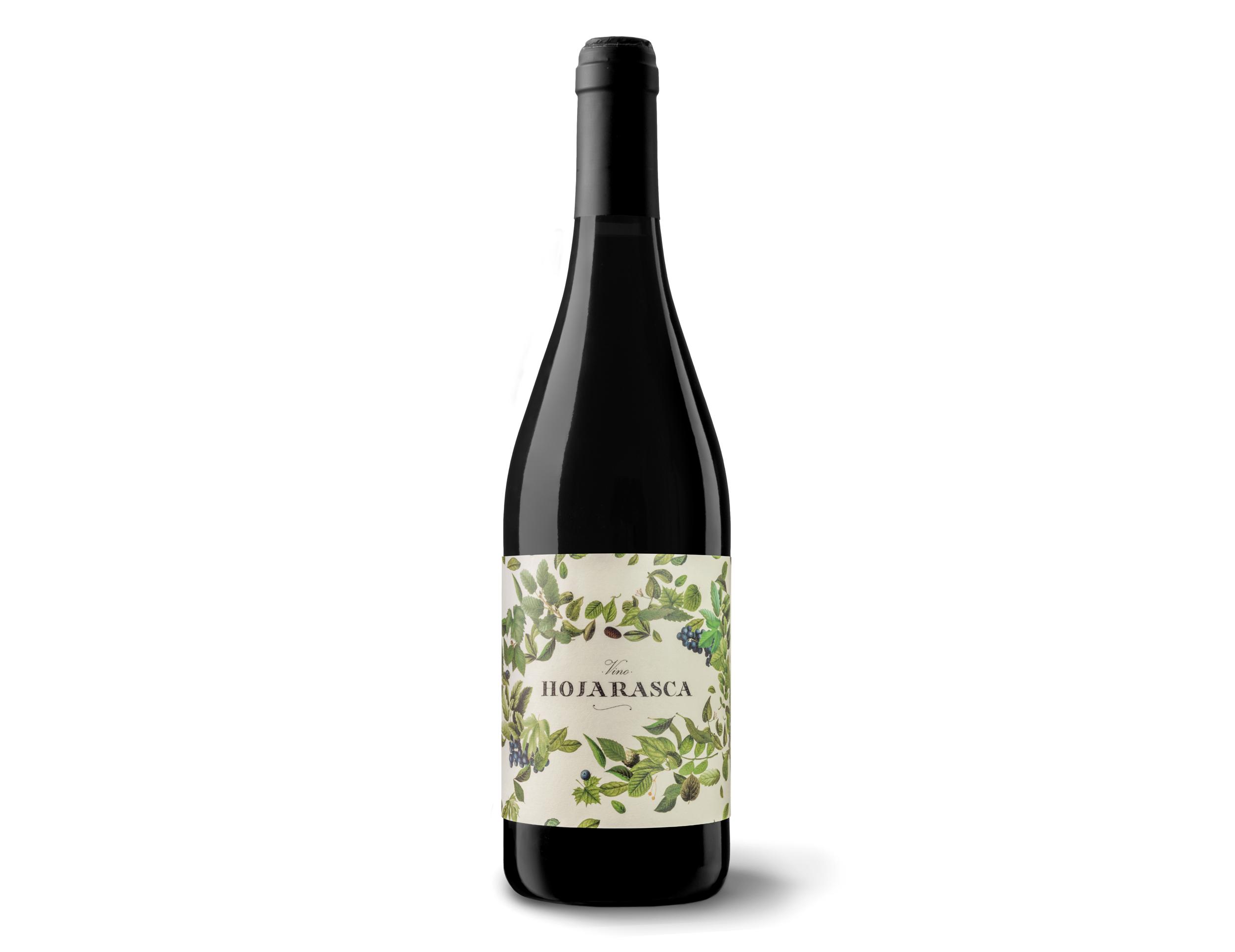 Diseño y fotografía botella Vino hojarasca