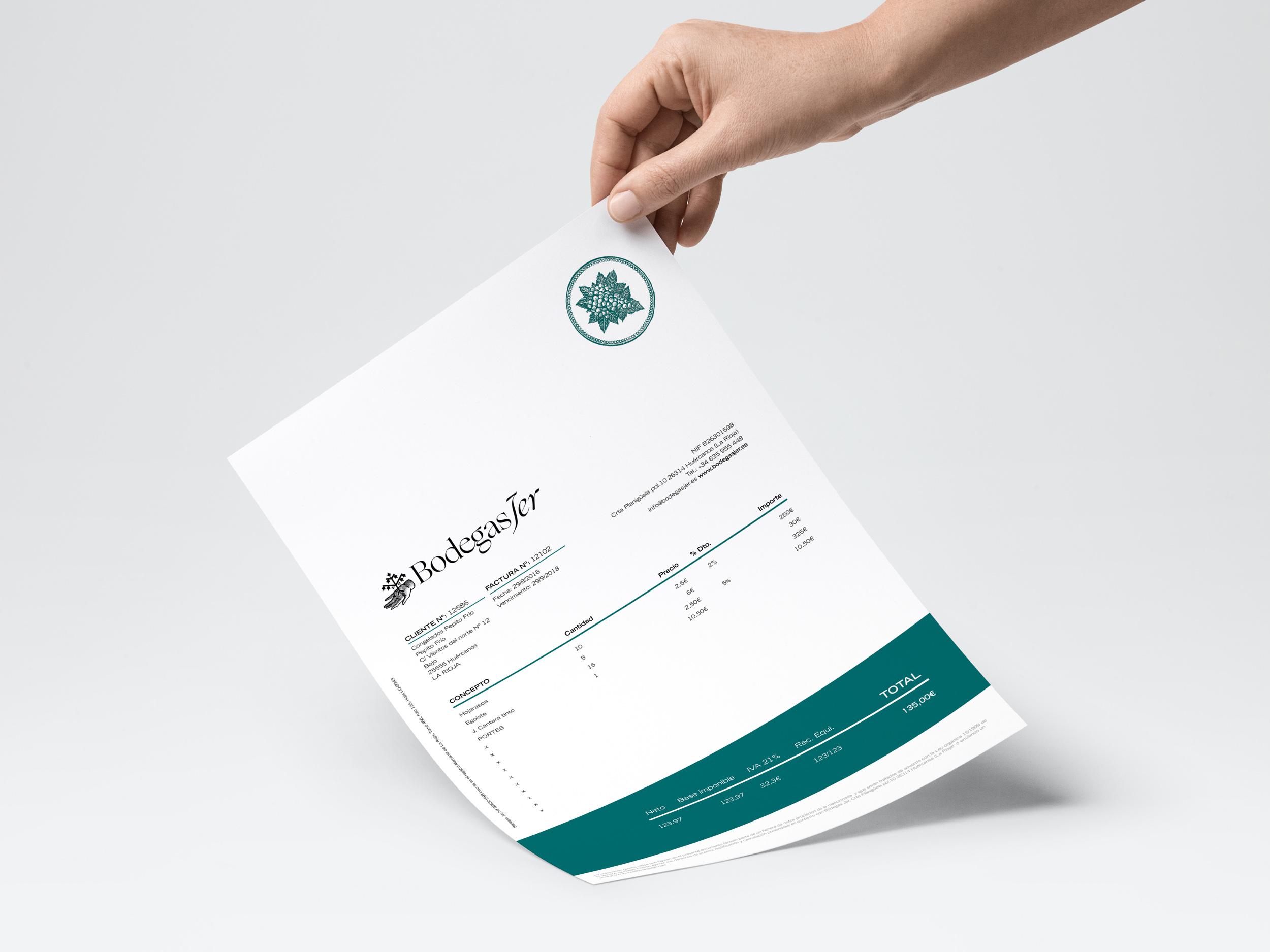 Diseño identidad y papelería bodegas Jer, La Rioja.