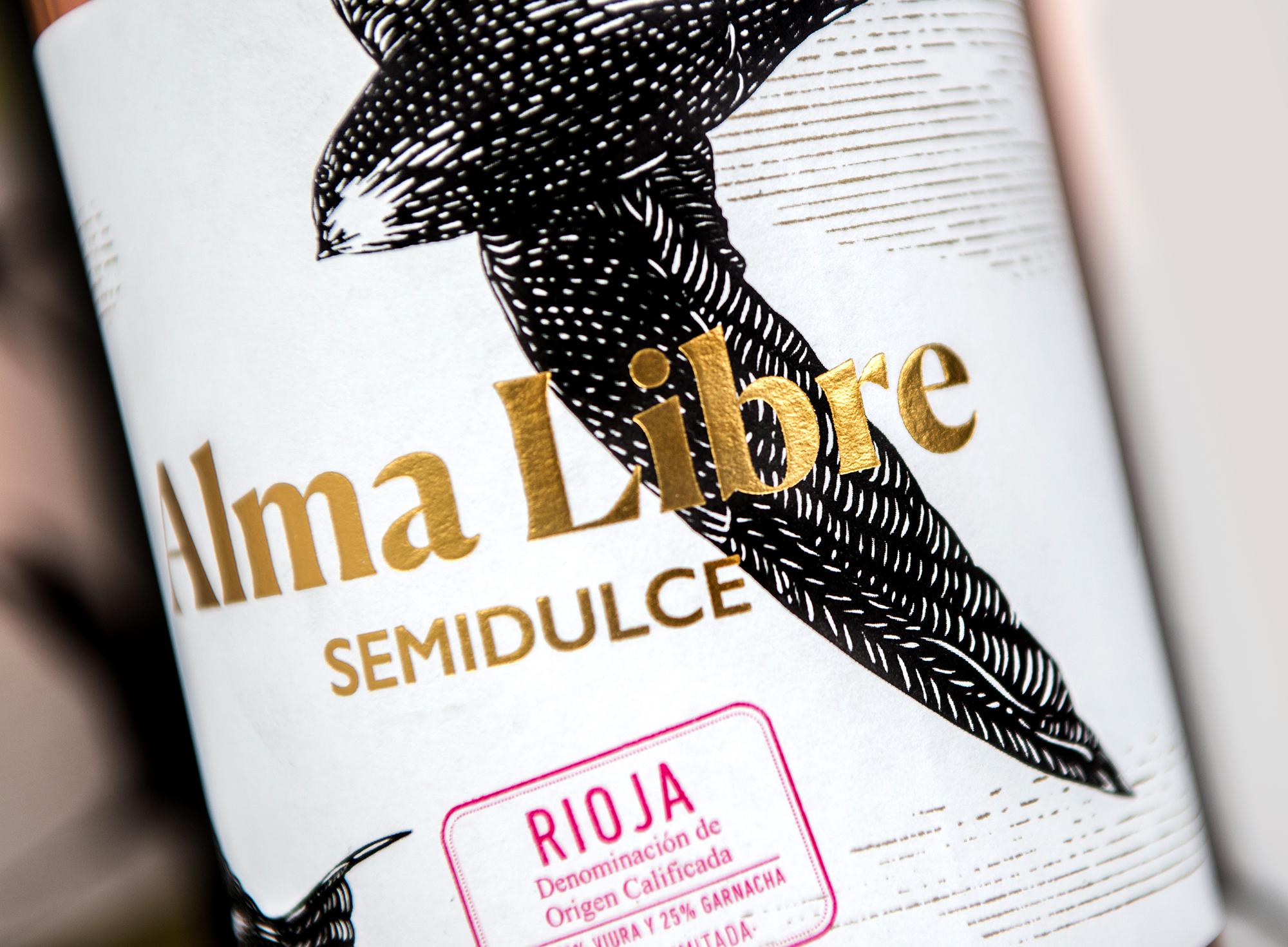 Detalle de la ilustración hecha para el packaging del vino semidulce Alma Libre.
