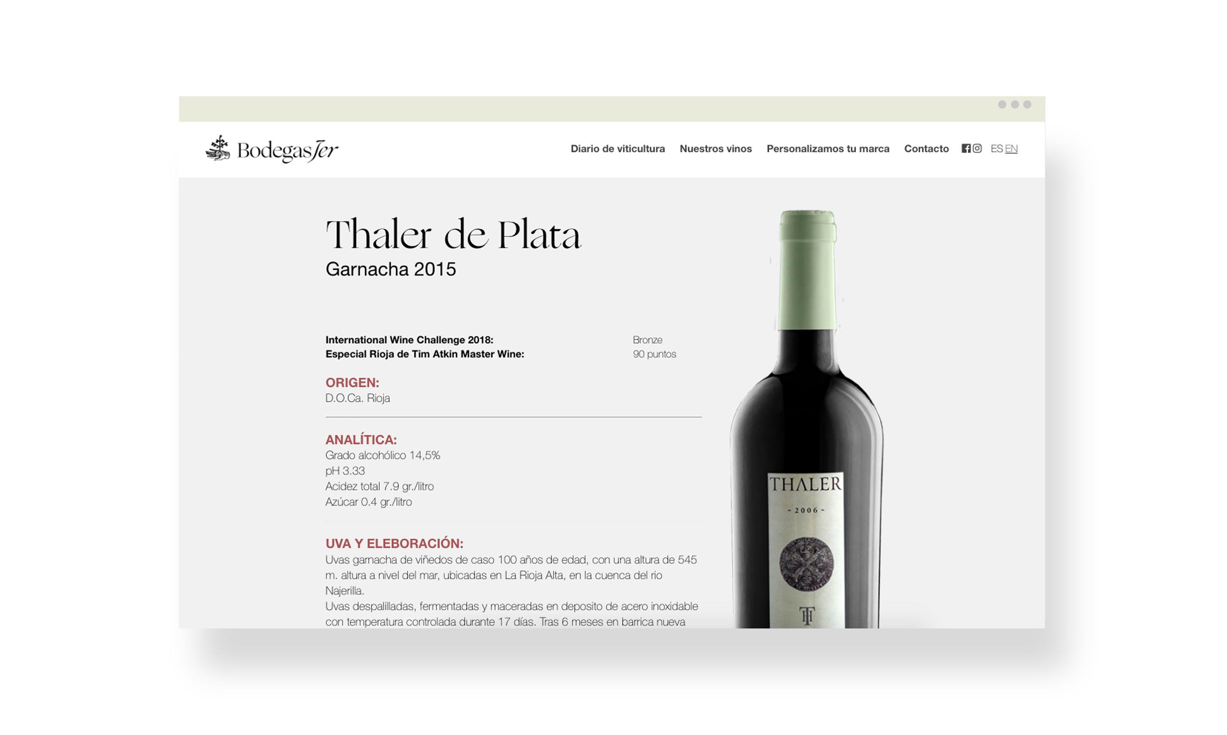 Montaje del diseño web versión móvil para bodega riojana Jer, con tienda online.
