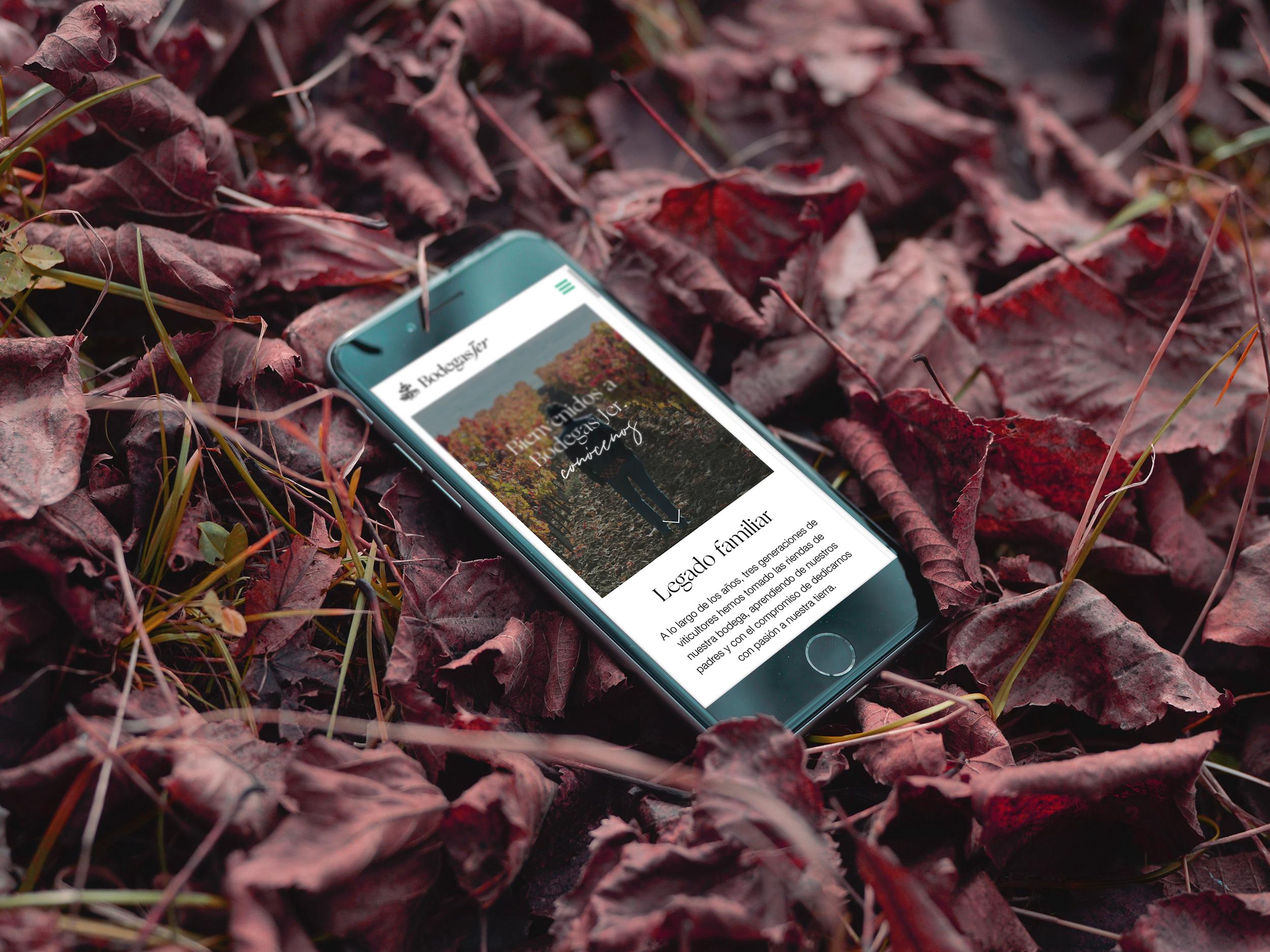 Diseño web versión móvil con tienda online para bodega Riojana en Ábalos , bodegas Jer.