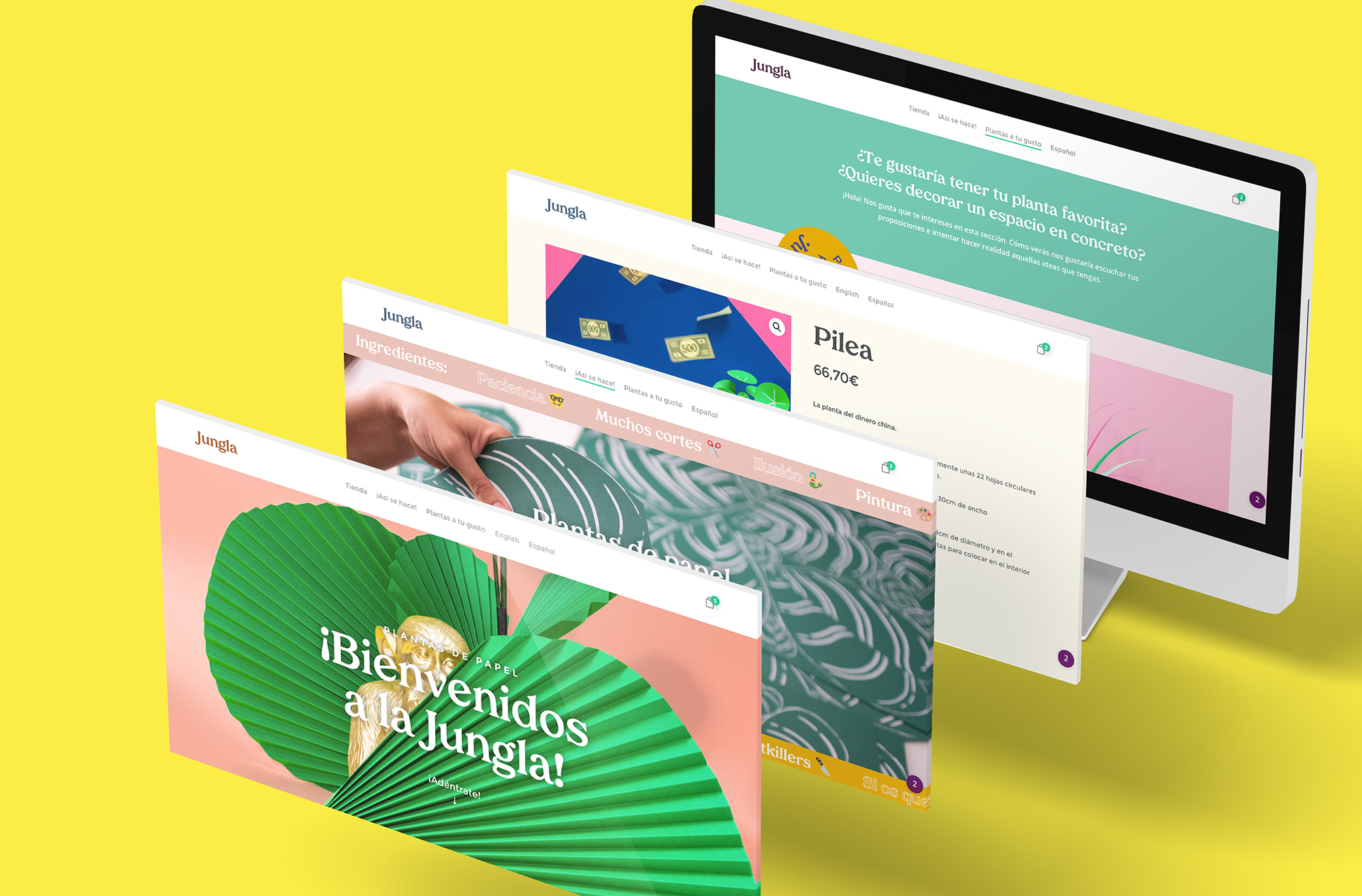 Diseño web y tienda online para Jungla, plantas de papel