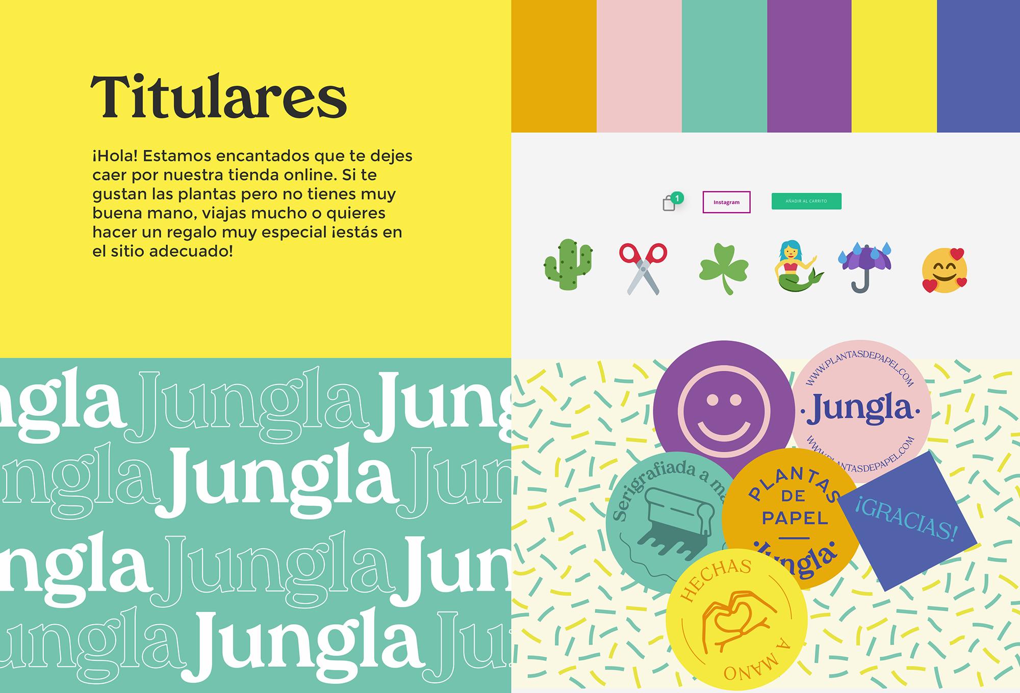 diseño de identidad web, jungla plantas de papel