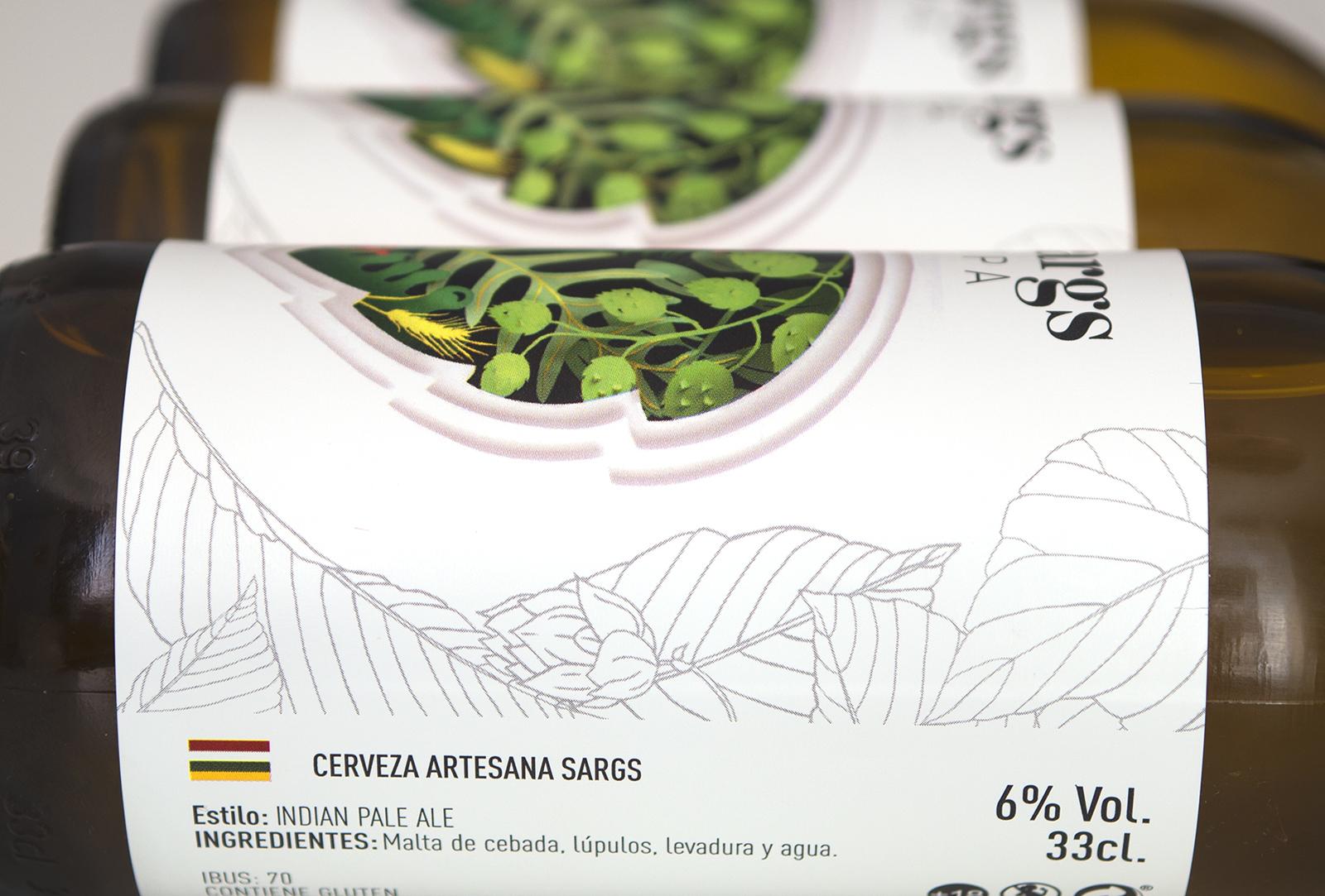 Diseño y fotografía de etiqueta cerveza ipa sargs