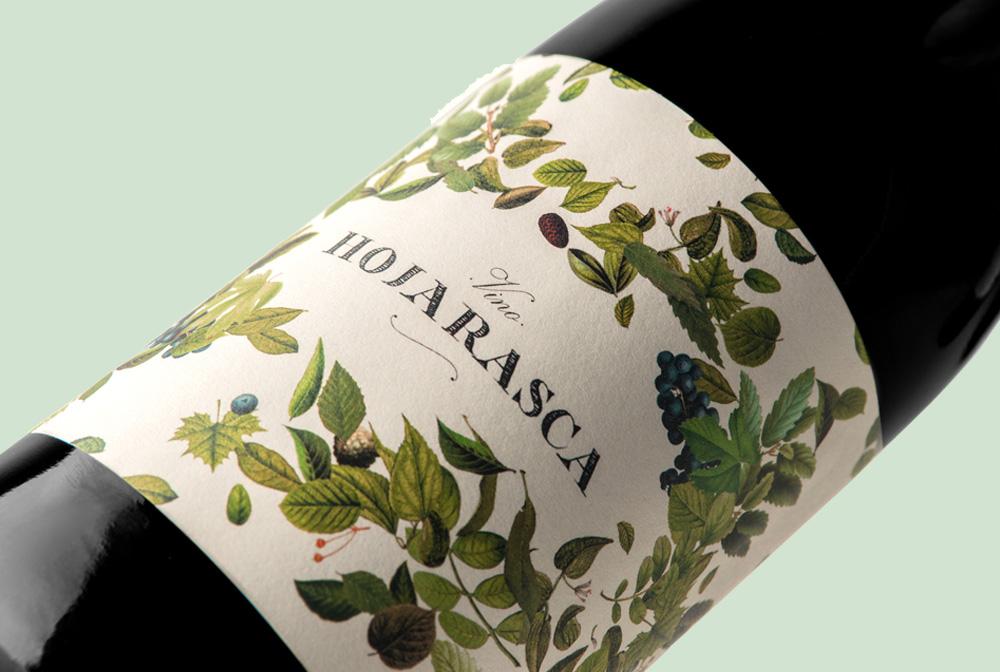 Diseño y fotografía detalle Vino hojarasca