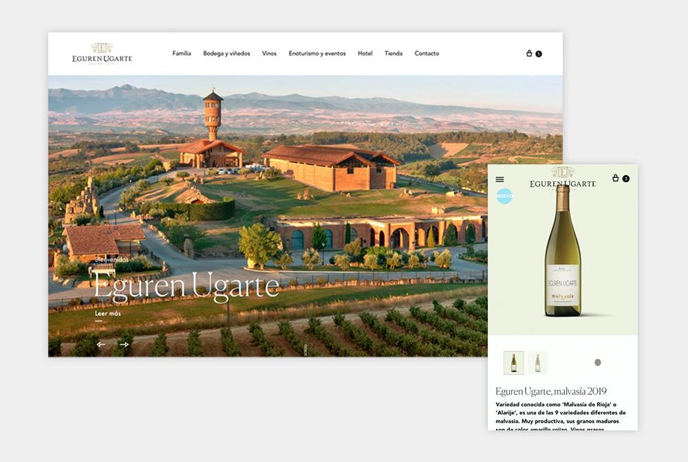 Diseño web versión ordenador con tienda online y reservas de hotel para bodega Alavesa en La Guardia. Bodegas Eguren Ugarte.