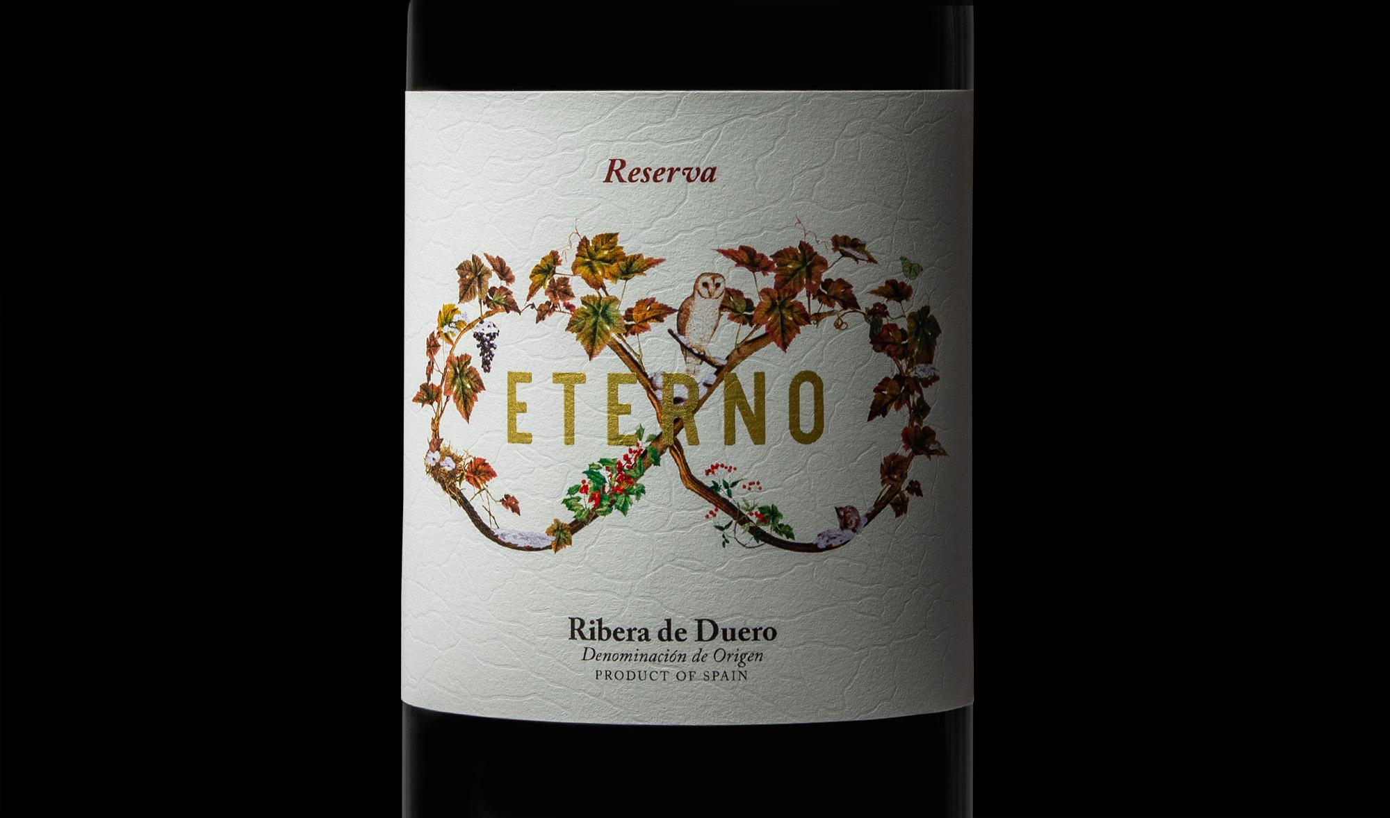 Detalle del diseño e ilustración para la etiqueta de vino reserva eterno