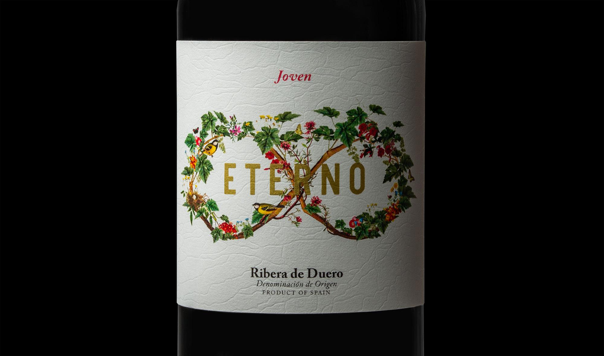 Detalle del diseño e ilustración para la etiqueta de vino joven eterno
