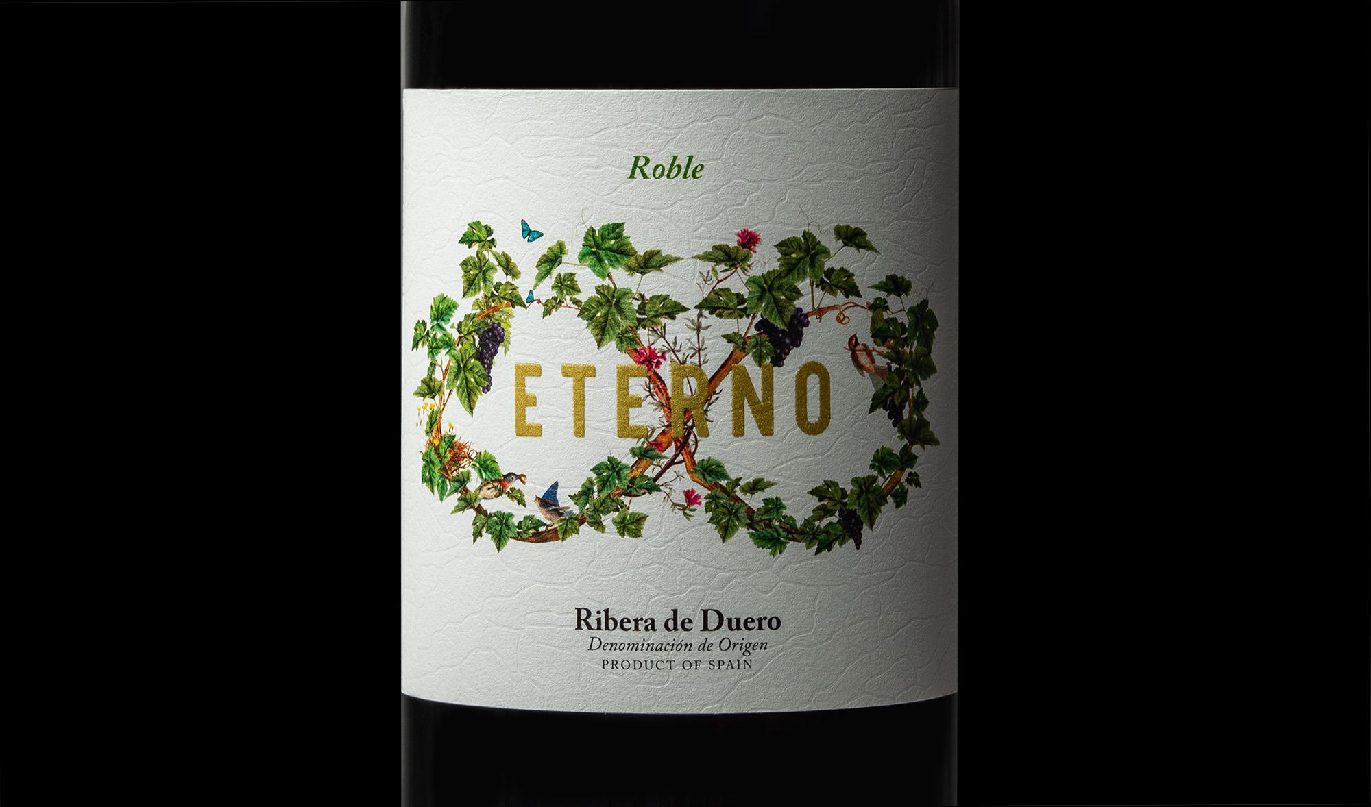 Detalle del diseño e ilustración para la etiqueta de vino roble eterno